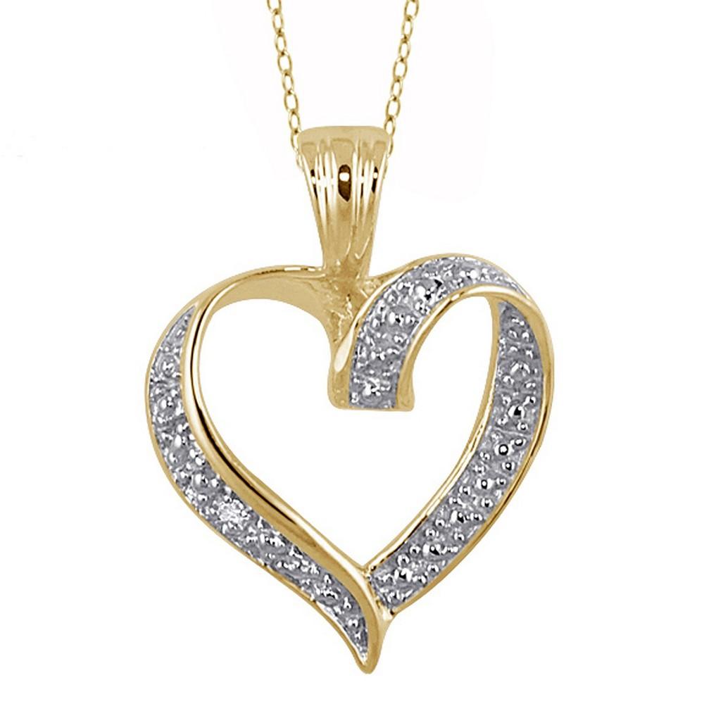 Women's Sterling Silver Round-Cut White Diamond Pave Set Heart Pendant - Yellow (18)