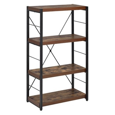 ACME Furniture 43 Inch 3 Tier 4 Shelf Industrial Modern Metal Frame X Back Bookcase Organizer Storage Shelf Decor, Weathered Oak