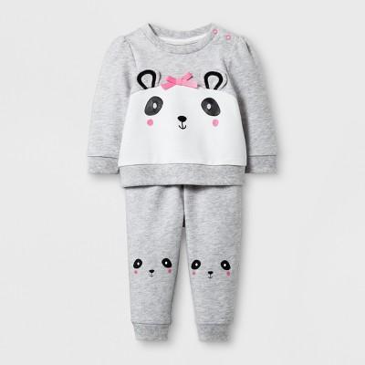 Baby Girls' 2pc Panda Sweatshirt and Jogger Set - Cat & Jack™ Gray Newborn