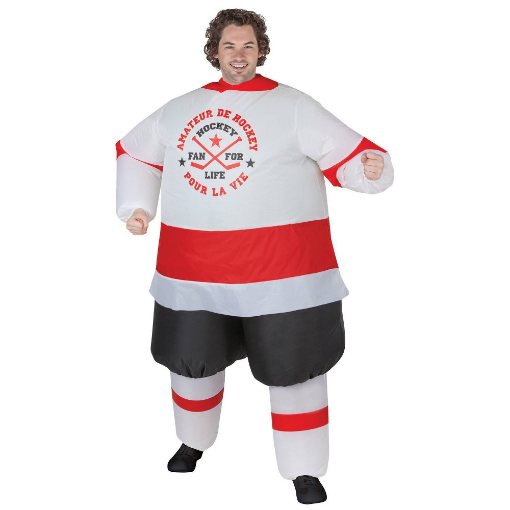 Image of Halloween Hockey Player Adult Inflatable Costume, Men's, Size: Small, MultiColored