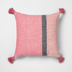 18x18 Color Blocked Square Pillow Dusty Rose / Pink - Hearth & Hand™ with Magnolia