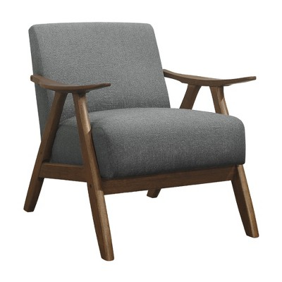 Lexicon Damala Collection Retro Inspired Wood Frame Accent Chair Seat with Polyester Fabric for Living Rooms and Offices, Grey