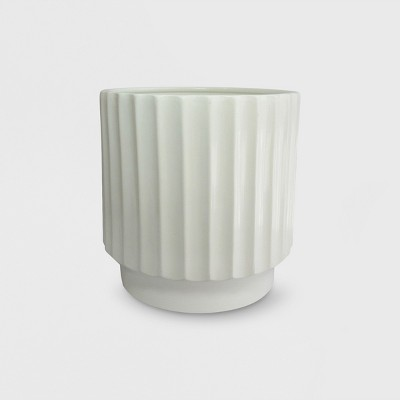 """12"""" Earthenware Geared Planter White - Project 62™"""