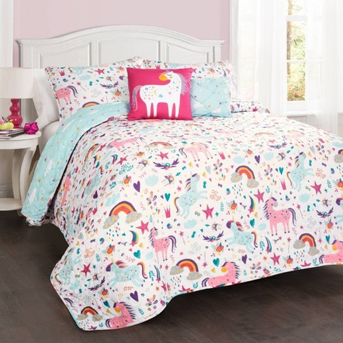 4pc Twin Unicorn Heart Bedding Set With, Pink Unicorn Bedding Twin