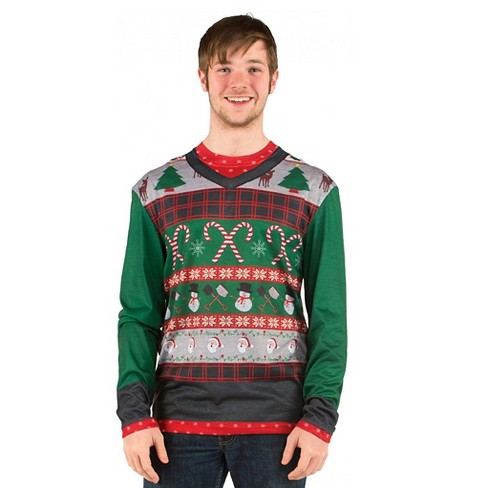 Mens Costume Ugly Christmas Sweater Candy Canes Long Sleeve Tee