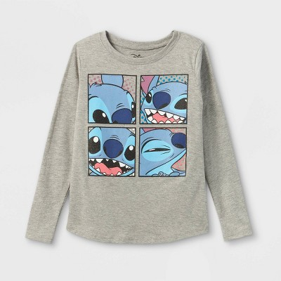 Girls' Disney Stitch Squares Long Sleeve Graphic T-Shirt - Heathered Gray