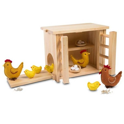 Magic Cabin - Wooden Chicken Coop and Felt Chickens Play Set Special for Kids