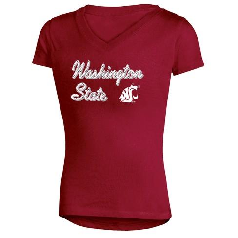 Washington State Cougars Girls' Short Sleeve Bright Lights V-Neck T-Shirt XL - image 1 of 1
