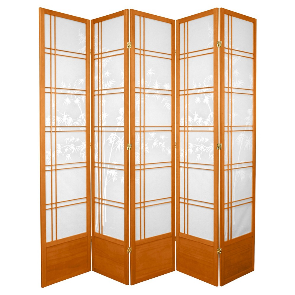7 ft. Tall Bamboo Tree Shoji Screen - Honey (5 Panels)