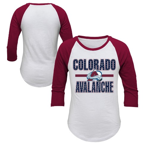 NGL Colorado Avalanche Girl's Hot Shot White/ 3/4 Sleeve T-Shirt - image 1 of 3
