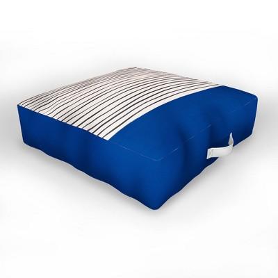 Hello Twiggs Dark Blue Abstract Outdoor Floor Cushion - Deny Designs