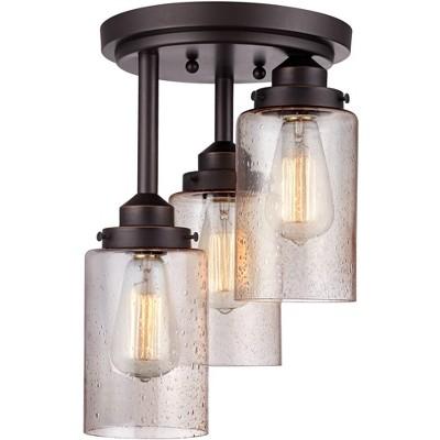 "Franklin Iron Works Industrial Farmhouse Ceiling Light Semi Flush Mount Fixture LED Rustic Bronze 9 1/2"" Wide 3-Light for Bedroom"