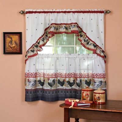 Rooster Printed Tier and Swag Window Curtain Set Burgundy 57x24 - Achim