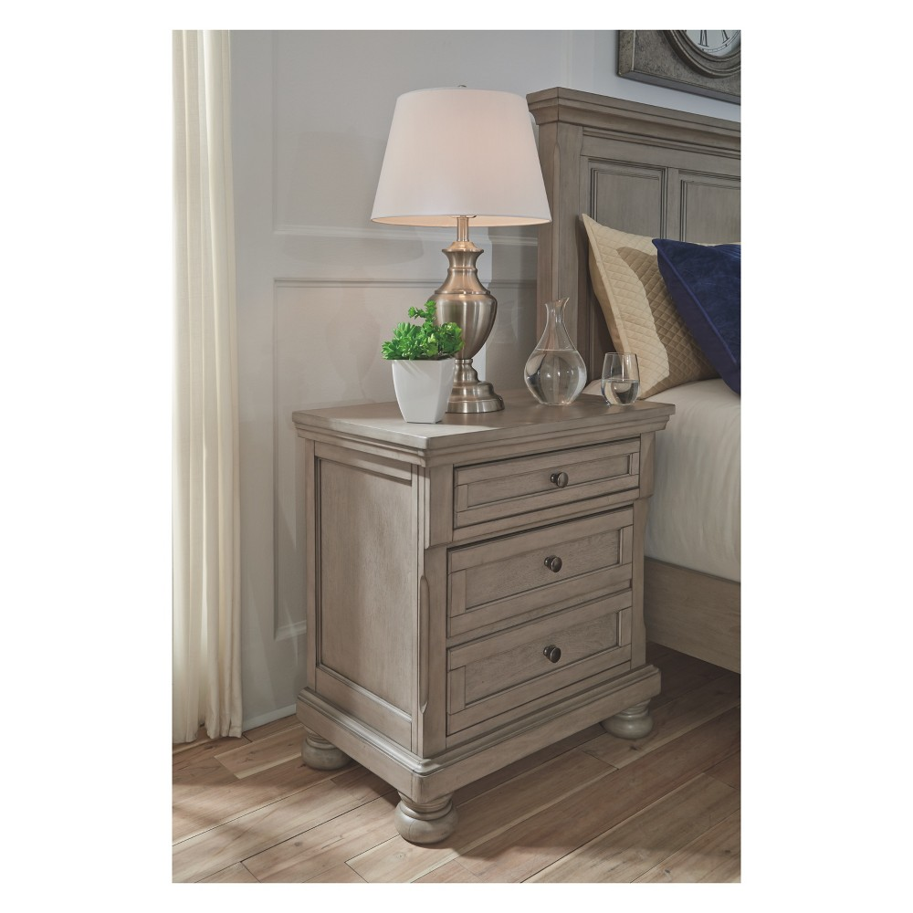 Lettner Two Drawer Nightstand Light Gray - Signature Design by Ashley