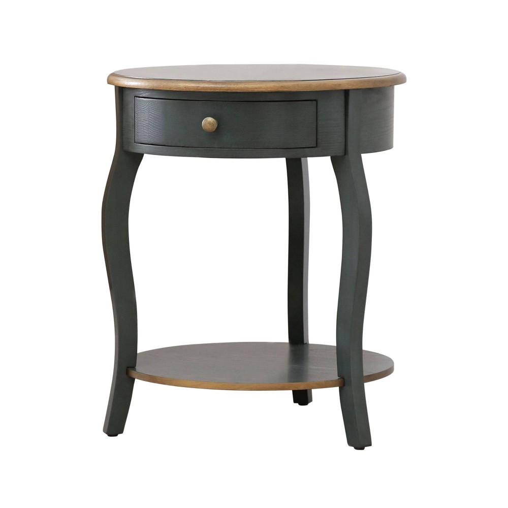Clarence 1 Drawer Round Wood End Table - Teal (Blue)/Gold - Abbyson Living