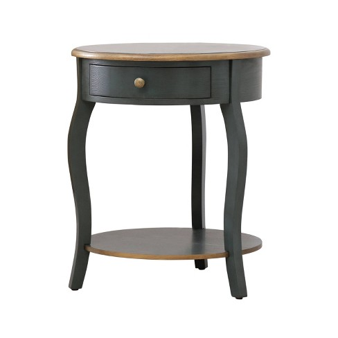 Clarence 1 Drawer Round Wood End Table - Teal/Gold - Abbyson Living - image 1 of 4