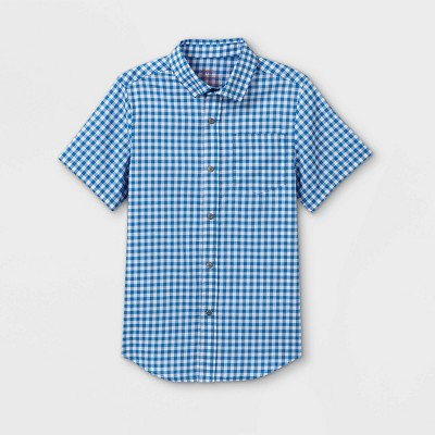 Boys' Adaptive Gingham Woven Button-Down Shirt - Cat & Jack™ Blue/White