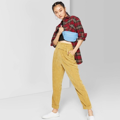 Women's High-Rise Belted Corduroy Paperbag Pants - Wild Fable™ Mustard - image 1 of 3