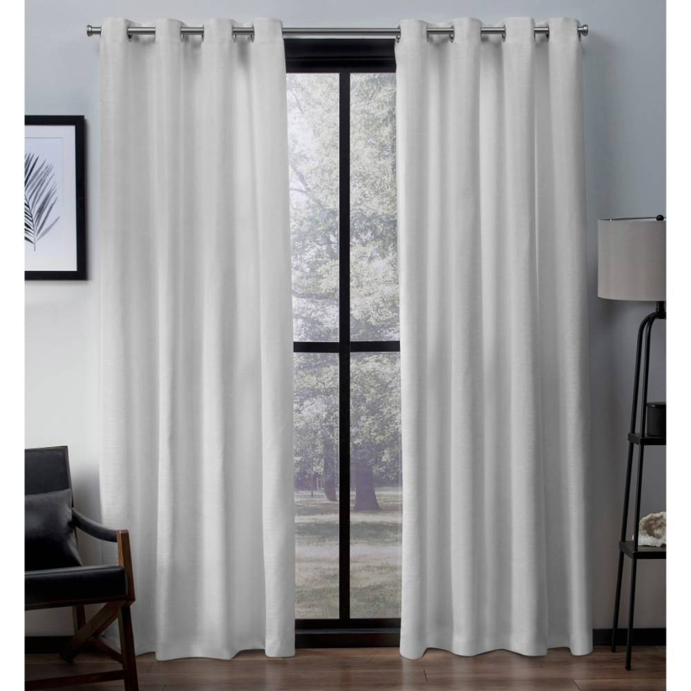 Virenze Faux Silk Grommet Top Window Curtain Panel Pair Winter 54x63 - Exclusive Home
