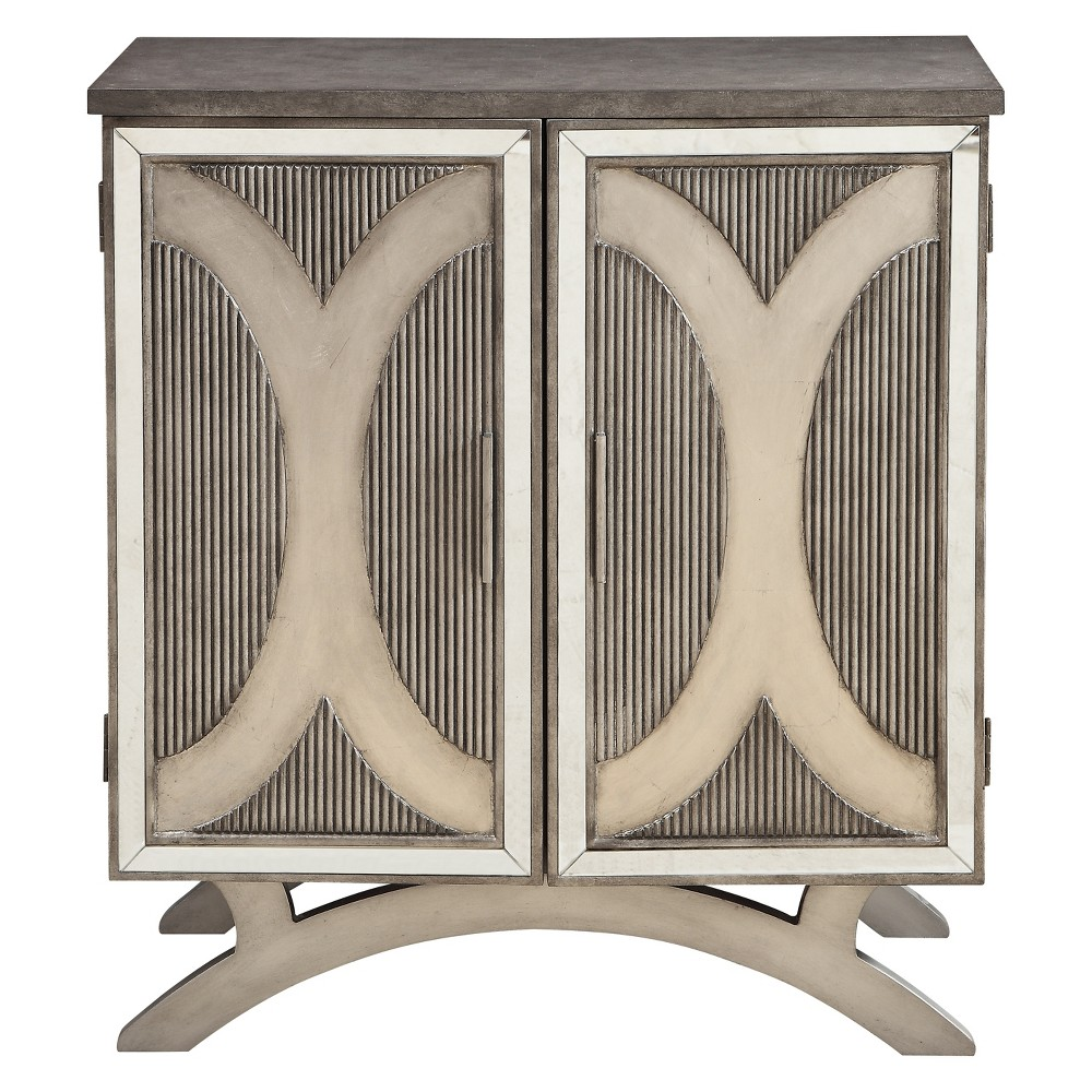 Arched Base Mirrored 2 Door Cabinet Pewter (Silver) - Treasure Trove