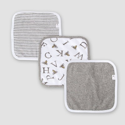 Burt's Bees Baby® Set of 3 A-Bee-C Washcloths - Gray