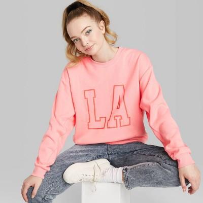 Women's Oversized Crewneck Sweatshirt - LA Graphic - Wild Fable™ Pink