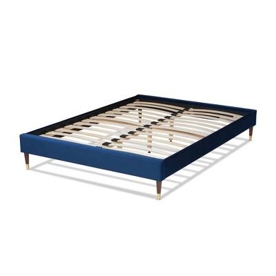 Volden Velvet Wood Platform Bed Frame - Navy Blue, Gold - Baxton Studio : Target