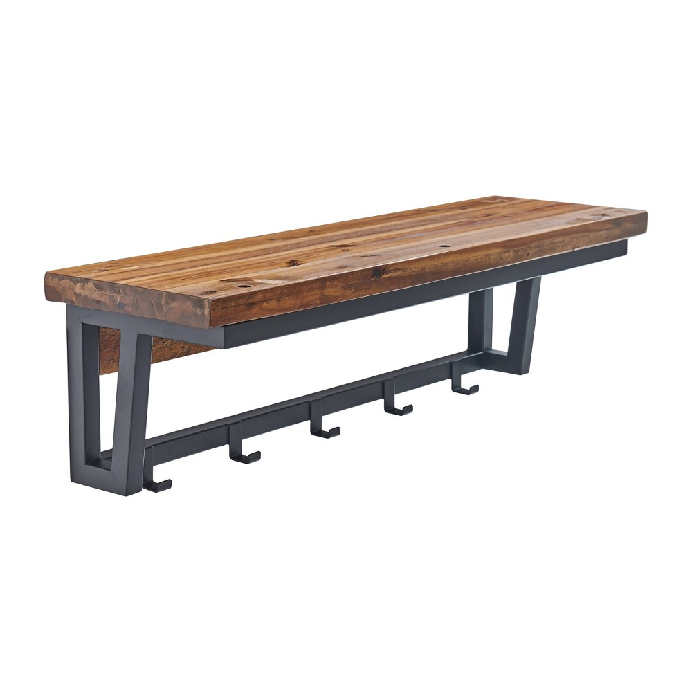 Image of Claremont Rustic Wood Coat Hook and Bench Set Dark Brown - Alaterre Furniture