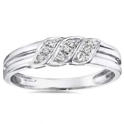 Pompeii3 Mens Diamond Ring 10K White Gold