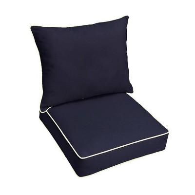 Sunbrella Outdoor Seat Cushion Navy/Ivory