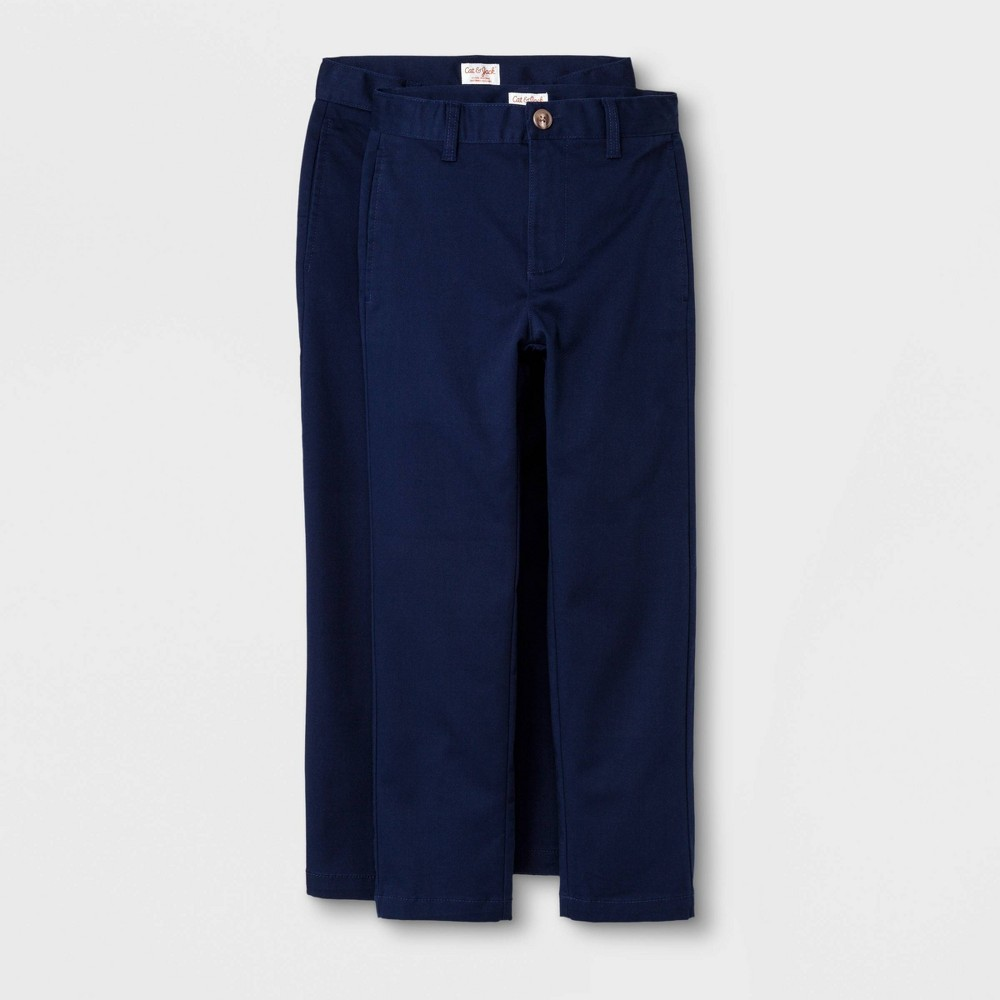 Boys' 2pc Ultimate Flat Front Uniform Chino Pants - Cat & Jack Navy 12, Blue was $20.0 now $14.0 (30.0% off)