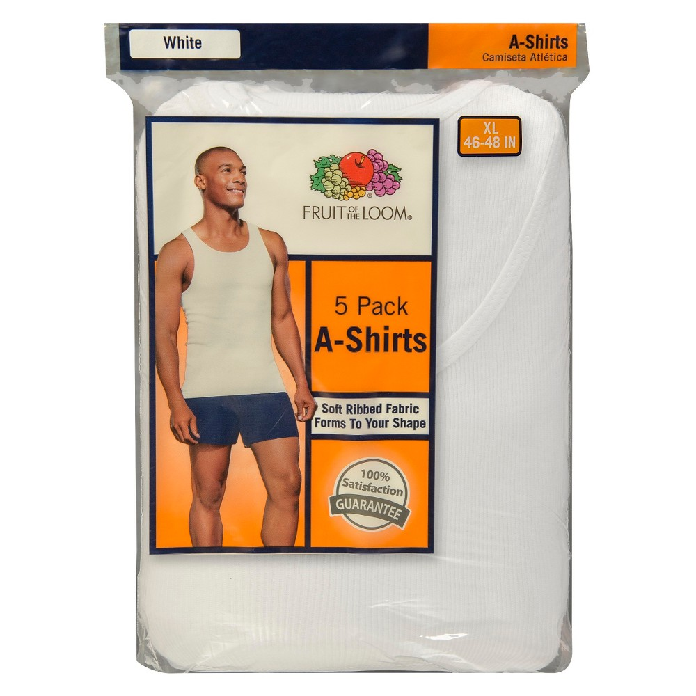 Image of Fruit of the Loom Men's A-Shirts 5-Pack - White XXL, Men's
