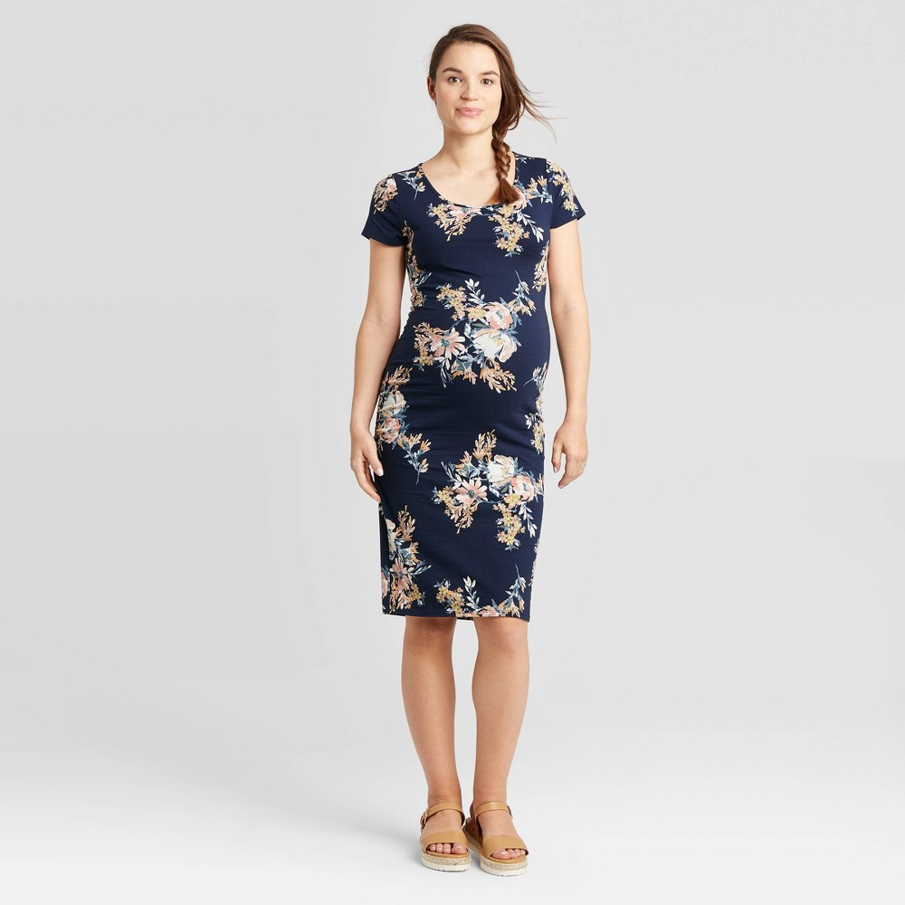 Floral Print Short Sleeve T-Shirt Maternity Dress - Isabel Maternity by Ingrid & Isabel Navy XS, Blue was $24.99 now $10.0 (60.0% off)