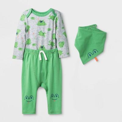 Baby 3pc Long Sleeve Frog Top & Bottom Set - Cat & Jack™ Green/Gray 3-6M