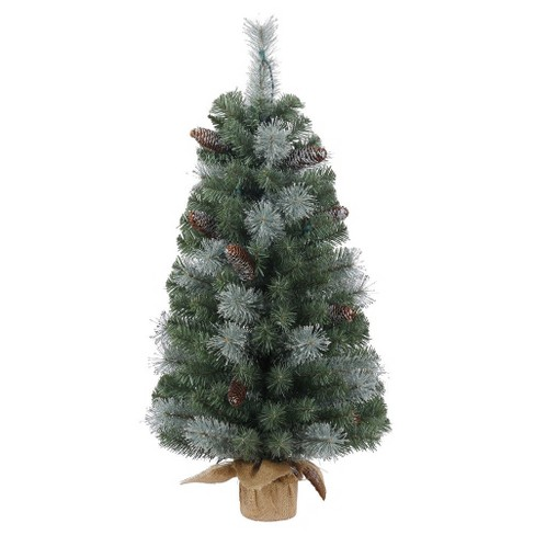 3ft Unlit Shasta Blue Mix Pine Artificial Christmas Tree Slim in Burlap Base - image 1 of 1