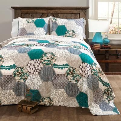 Briley Quilt 3 Piece Set (King)Turquoise - Lush Décor
