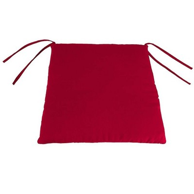 """Plow & Hearth - Polyester Classic Chair Cushion With Ties, 19.5"""" x 19"""" x 3"""", Barn Red"""