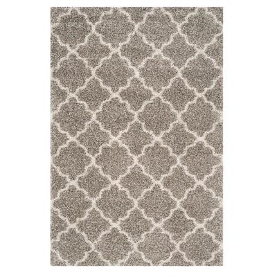 Gray/Ivory Quatrefoil Design Shag/Flokati Loomed Area Rug 10'X14' - Safavieh