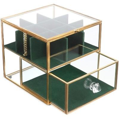 Juvale Glass Jewelry Box with Storage Drawers, Green Velvet Organizer (5.5 x 6.1 x 5.1 In)