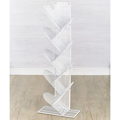 Lakeside Zigzag Metal Grate Look Vertical Bookcase with 9 Shelves