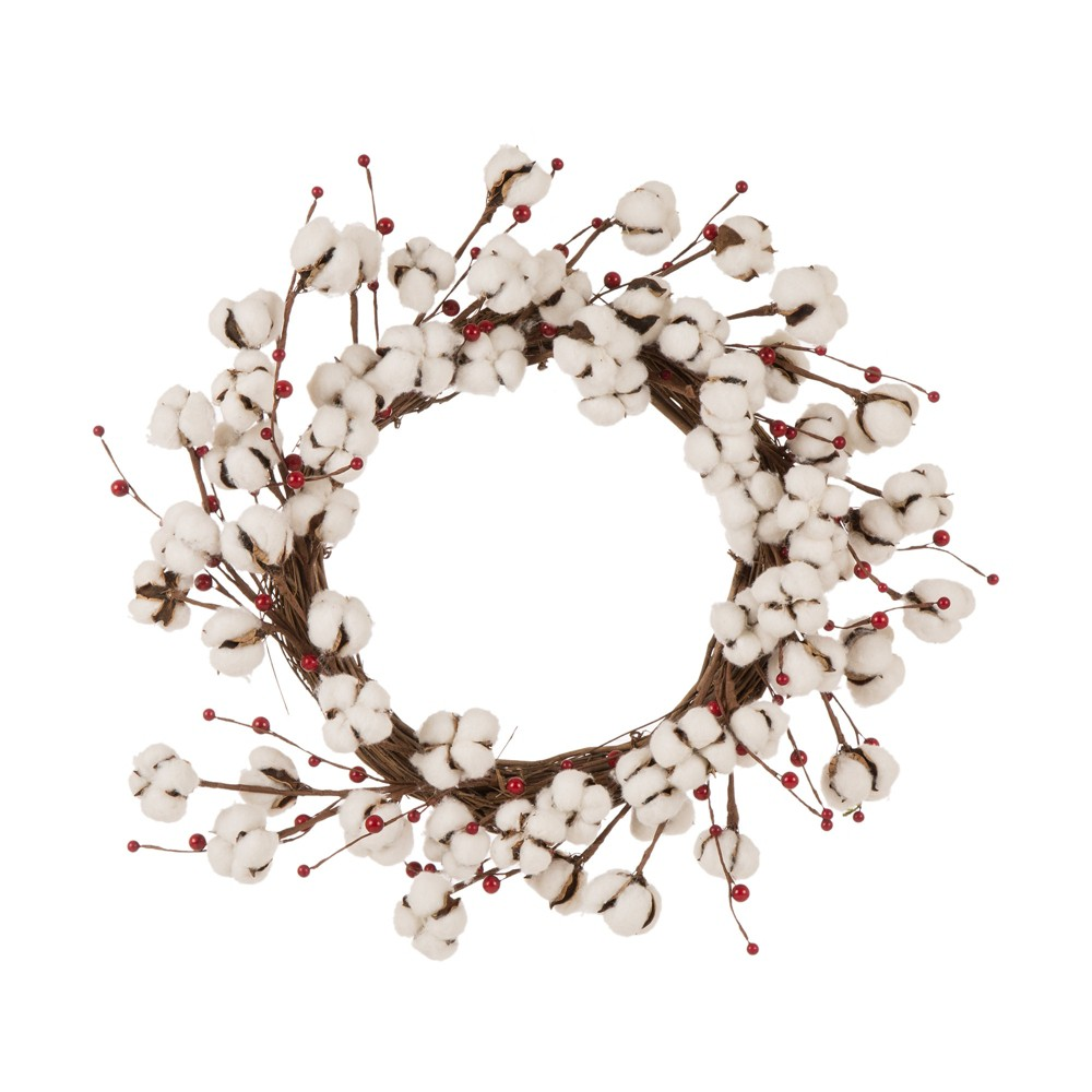 "Image of ""22"""" Cotton Berries Wreath White - Glitzhome"""