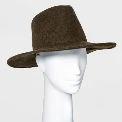 Women's Wide Brim Felt Western Fedora Hat - Universal Thread™ Olive Heather