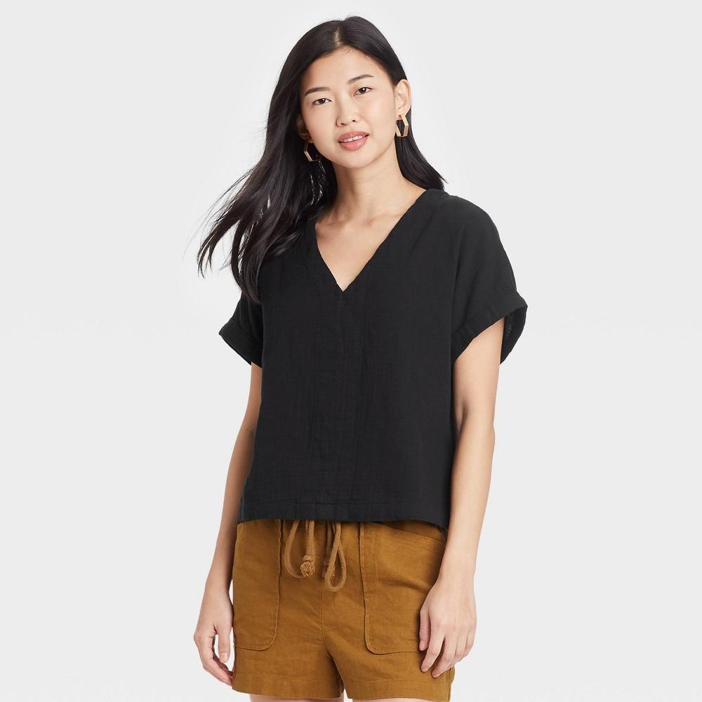 Women 39 S Short Sleeve Blouse Universal Thread 8482 Black Xl