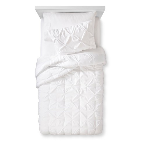 Pinch Pleat Comforter Set Twin White 2pc Pillowfort Target