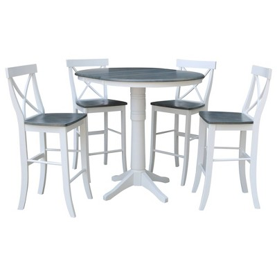 """36"""" Carson Round Extension Dining Table with 4 Stools - International Concepts"""