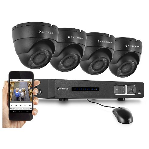 Amcrest 720P Tribrid HDCVI 4CH 1TB DVR Security Camera System with 4 x 1MP Dome Cameras - Black (AMDV7204M-4D-B) - image 1 of 3