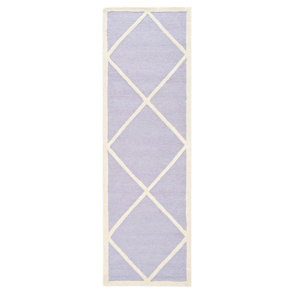 2'6X8' Geometric Runner Lavender/Ivory (Purple/Ivory) - Safavieh