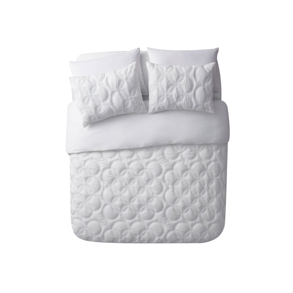 Twin XL 2pc Atoll Embossed Duvet Set White - Vcny Home