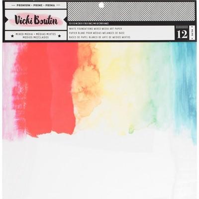 "Vicki Boutin Mixed Media Foundations Paper 12""X12"" 12/Pkg-Smooth White, 140lb"