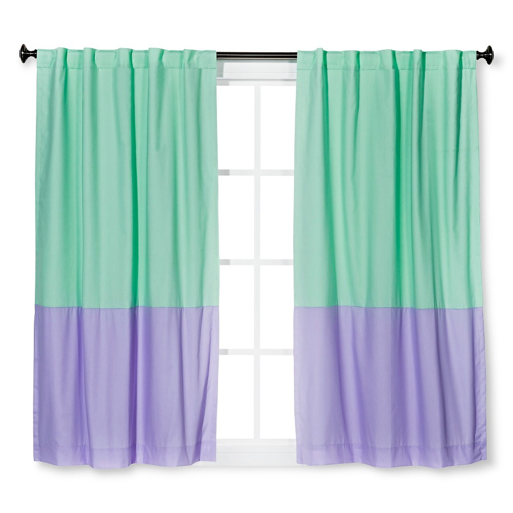 "Image of ""Twill Blackout Curtain Panel Mint/Lavender Colorblock (Green/Lavender Colorblock) (42""""x84"""") - Pillowfort"""